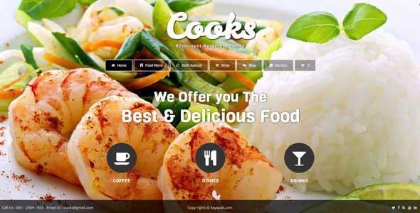 wp cooks restaurant theme free