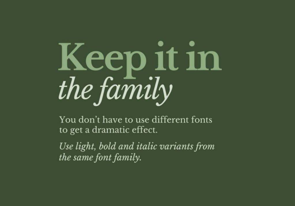 Grafik tasarım ipuçları - Yazı ailesine sadık kalın