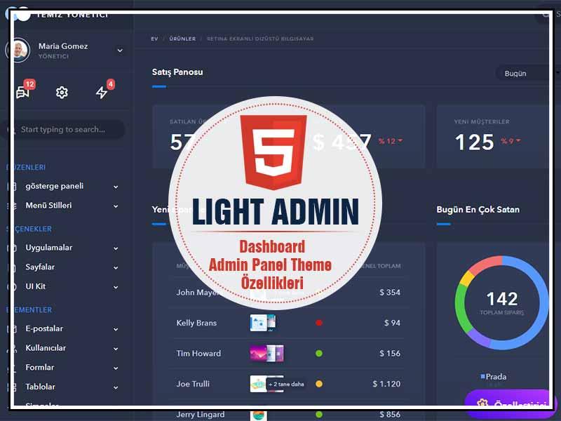 Light admin panel template theme tema download ucretsiz indir